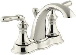 NEW KOHLER K-393-N4-SN Devonshire Centerset Bathroom Sink Faucet, Vibrant Polished