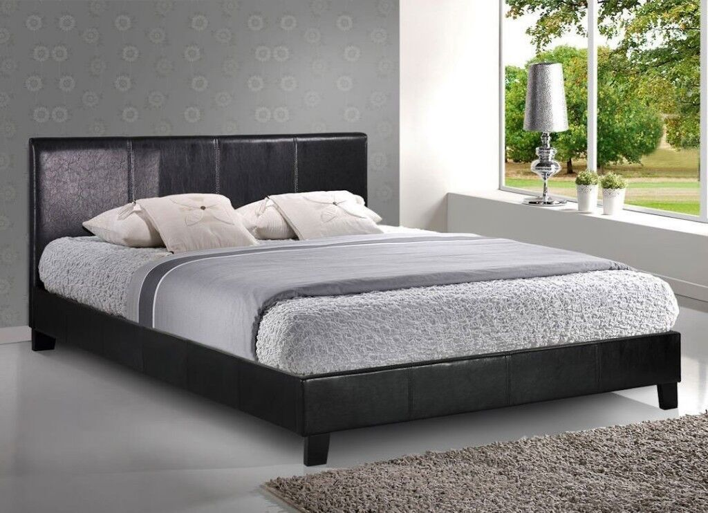 🛑🛑SALE 🛑🛑Brand New Double/Small Double LEATHER BED with 10inch thick Full Orthopaedic Mattress