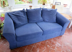 A pair of matching blue fabric sofas (2 seater and 3 seater) - v. good condition