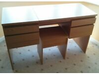 Ikea Malm Dressing table with inbuilt mirror and matching stool in oak veneer