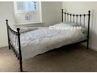 Double Bed - Black Metal frame with mattress and bedding
