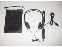 Plantronics Wired Audio DSP-400 Foldable Stereo Headset USB Connector - Black