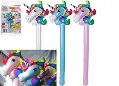 NEW INFLATABLE 106cm UNICORN HEAD STICK BASHER BLUE PINK OR WHITE FUN TOYS PMS - Inflatable Unicorn Head