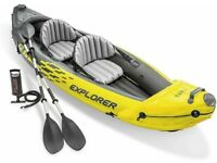 Intex Explorer K2 Kayak 2 Person Inflatable Canoe Boat with Pump - Yellow/ Black