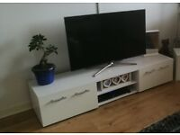 White gloss finish TV stand.