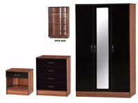 Black/Walnut High Gloss Bedroom Furniture 3 Piece Trio Triple Mirror Wardrobe 4 Chest Bedside Table