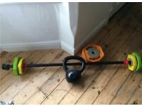 Barbell set plus kettlebell