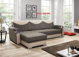 Corner sofa bed sofa bed UK STOCK 1-2 DAY DELIVERY Bala(Brown-Beige)