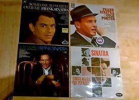 collection of 4 Frank Sinatra vinyl records