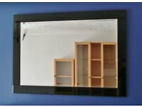"Black Glass Frame Large Heavy 41.25"" X 29"" Bevelled Wall Mirror Portrait or Landscape Orientation"