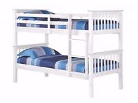 WHITE WOODEN BUNK BED WITH 2 MATTRESS CAN BE SPLIT IN TO 2 SINGLE BUNK OR KIDS BED