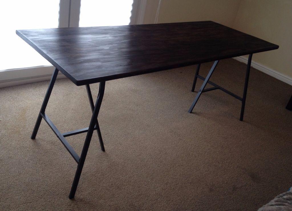 Furniture Legs Edinburgh solid wood table top with ikea lerberg trestle legs | in edinburgh