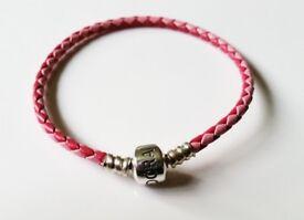 custom Two Tone Pink Braided Leather Pandora Bracelet size 18cm
