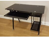 Sturdy Black Glass Desk with PC Shelf and Pull-Out Keyboard Tray - W100 x H74 x D50