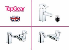 Modern Square Bathroom Tap Sets - Basin Mono, Bath Filler, Bath Shower Mixer