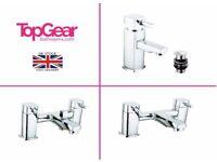 Modern Square Bathroom Tap Sets - Basin Mono, Bath Filler, Bath Shower Mixer