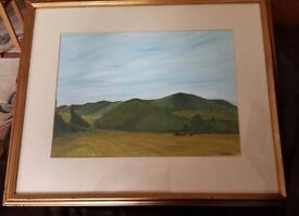 Vintage Oil Painting View of Malvern Hills From Kempsey Signed Martin