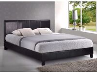 """Wow Offer -- Double Leather Bed + 9"""" Deep Quilt Mattress -- Same Day Free Delivery -- Brand New"""
