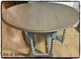 Wooden Drop Leaf Dinning Table Hand Painted in ANNIE SLOAN Paris Grey & Honfleur Chalk Paint.