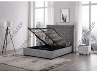 NICE GREY BED IN DOUBLE OR KING SIZES IN GREY COLOR AVAILBLE WITH HARD OR FOAM MATTRESS