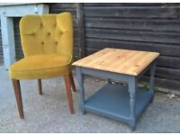 Solid Pine Side Coffee Ocasional Table ~ Vintage Grey Chalk