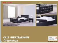 GOOD QUALITY SINGLE/DOUBLE CUBE LEATHER BED FRAME/ADD 50 FOR MATTRESS/KING SIZE AVAILABLE oK