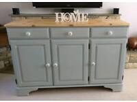Beautiful Duck Egg blue Green DUCAL pine sideboard Dresser chalk paint butterfly knobs