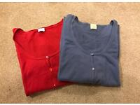 Red and blue cardigans from Camaieu