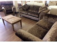 NEXT - Harris, BROWN CHENILLE FABRIC 3+2+1 Seater CRUSHED VELVET Sofa Suite + FREE LOCAL DELIVERY