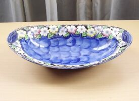 Maling Oval Lustre Bowl, Blue Glaze. Nice condition. Very collectable