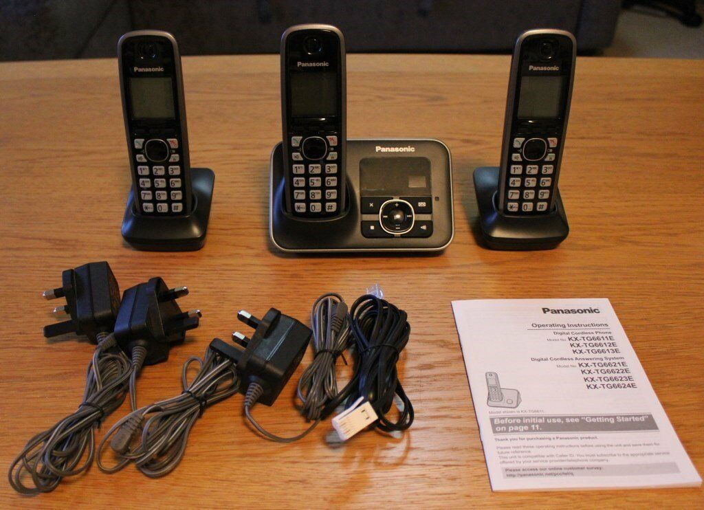9a0f4a240185 PANASONIC KX-TG6623 Cordless Phone with Answering Machine - Triple Handsets