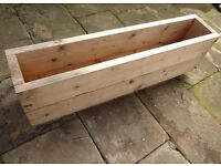 Large Rustic Wood Handmade Garden Trough Raised Bed Planters £25 each (four total)