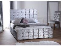 Cube Design, Silver, Crushed Velvet, Double, Bed, under storage, 12 inch memory foam mattress