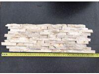 Split Face Mini Mosaic Tile Ledge Stone White / Cream