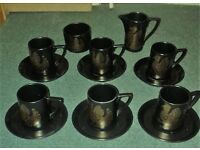 Vintage/Retro 1960s Portmeirion Phoenix Black and Gold 14 Piece Coffee Set