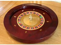 """Deluxe Dark Wooden Roulette Wheel 19.5"""" Inch - Varnished Finish - Great Bargain!"""