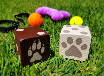 1 Jumbo DOG Or CAT PAW Lawn Yard Wood DICE Yahtzee,Bunco,Yardzee,Home Decor