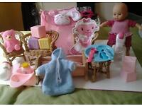 Baby Doll toy set, baby toys, bed and wicker chair set with table and rocking horse.