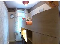 Single Room with High-sleeper bed, built-in Wardrobe, Drawers, Desk, Shelves, etc.