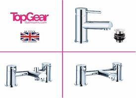 Modern Round Bathroom Tap Sets - Basin Mono, Bath Filler, Bath Shower Mixer