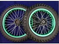 Pitbike wheels green sdg with sprocket