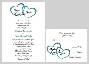 100 Personalized Custom Two Hearts Name Wedding Bridal Invitations Set Any Color