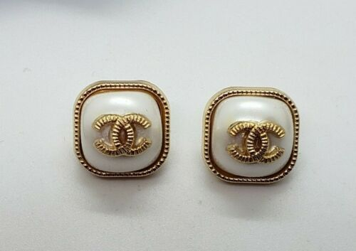 Set of 2 small gold with white pearl center buttons,  Stamped, 12 mm,