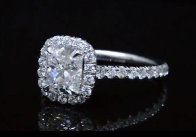 1.90 Ct Cushion U-Pave Diamond Ring Halo Engagement Ring GIA G,VS2 14K Natural  1