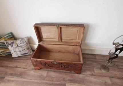Large Antique Carved Camphor Wooden Chest Storage Blanket Box