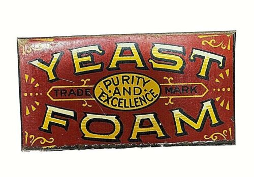 Old Yeast Foam Tin Litho Sign 2 1/2 x 1 3/8 SMALL T110