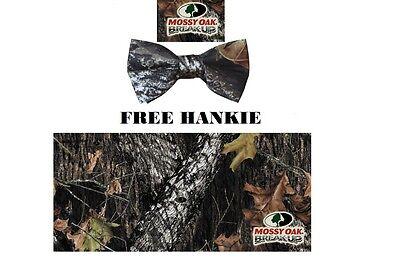 NEW Men's Mossy Oak BREAK UP Banded Camo Bow Tie FREE HANKIE Camouflage - Camo Bow Tie