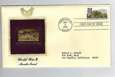 22KT Gold Replica FDC 1995  WWII Honolulu HI Manila Freed addressed