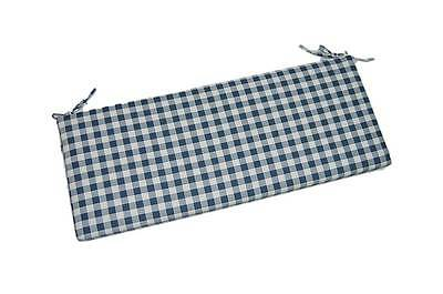 Indoor Blue Plaid Check Gingham Foam Bench / Swing / Glider