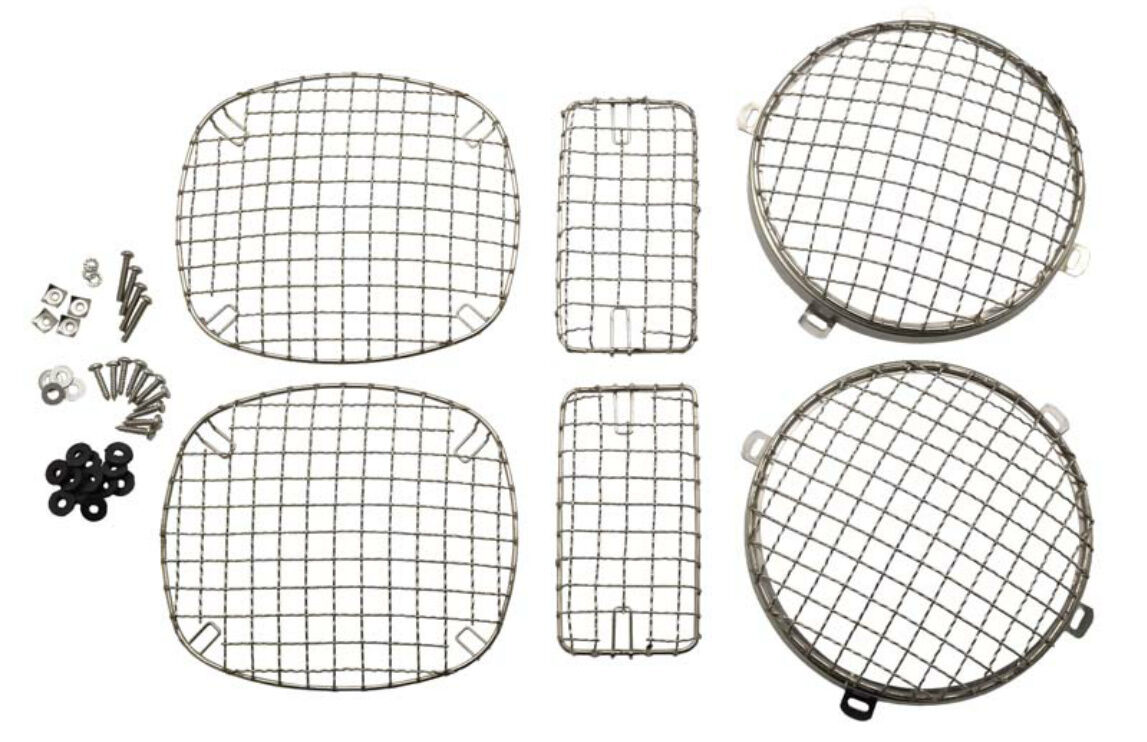 Wire Mesh Guard Set 6 pcs Polished Stainless for Jeep